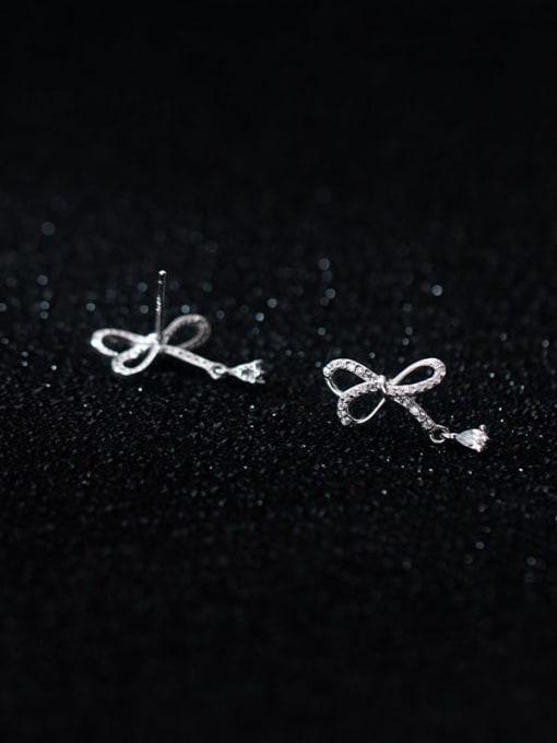 Rosh 925 Sterling Silver Cubic Zirconia Bowknot Minimalist Stud Earring 1
