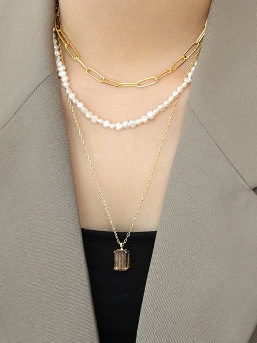 DAKA 925 Sterling Silver Hollow Geometric Chain Vintage Necklace 3