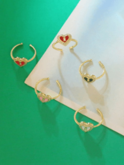 CC Brass Enamel Heart Minimalist Band Ring 4