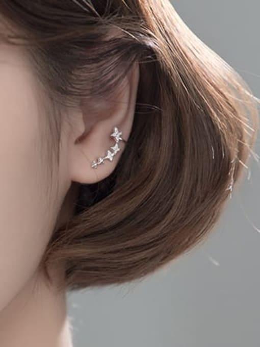 Rosh 925 Sterling Silver Cubic Zirconia Asymmetric  Star Dainty Stud Earring 2