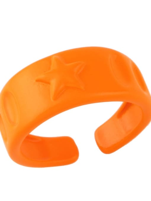 orange Brass Enamel Star Hip Hop Band Ring