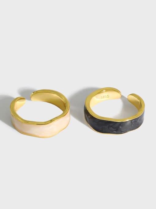 DAKA 925 Sterling Silver Enamel Round Vintage Band Ring