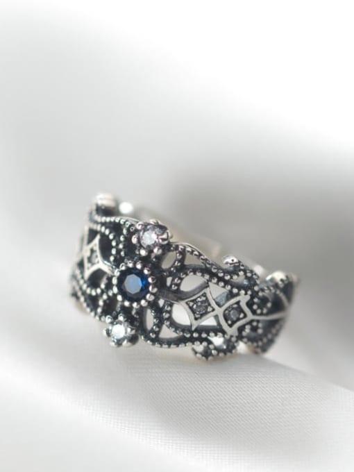 Rosh 925 Sterling Silver Rhinestone Hollow  Flower Vintage Band Ring 1