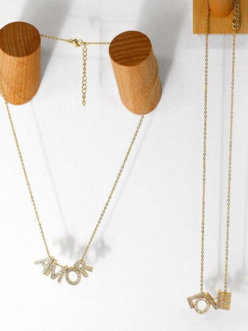 CC Brass Cubic Zirconia Simple LOVE letters Necklace 4