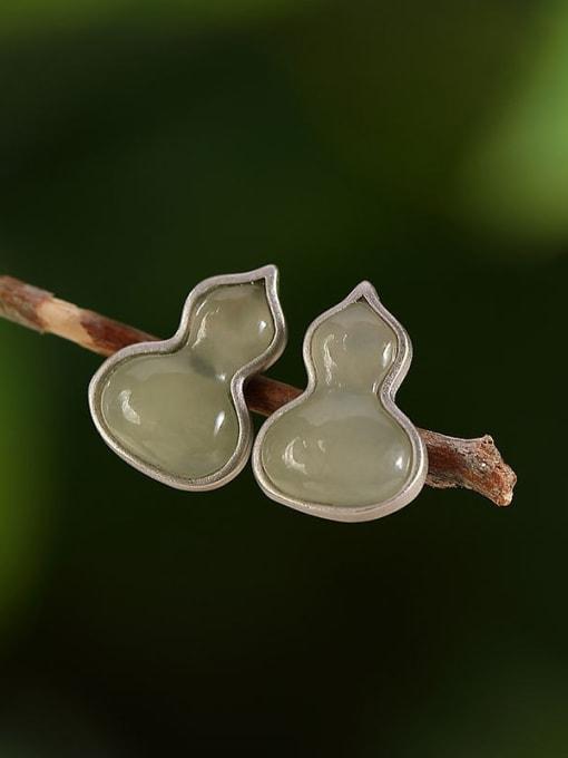 Blue jade 925 Sterling Silver Jade Geometric gourd  Cute Stud Earring