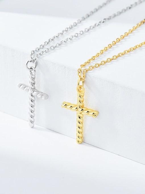 XBOX 925 Sterling Silver Cross Minimalist Pendant Necklace