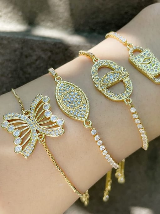 CC Brass Cubic Zirconia Butterfly Hip Hop Adjustable Bracelet 1