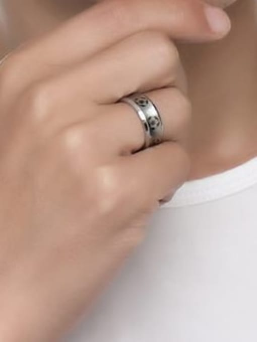 CONG Stainless steel Enamel Ball Minimalist Band Ring 4