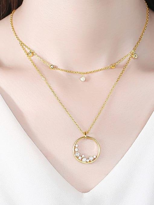 BLING SU Brass Cubic Zirconia Geometric Minimalist Multi Strand Necklace 1
