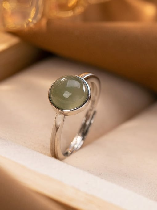 Plain silver (open) 925 Sterling Silver Jade Round Vintage Band Ring