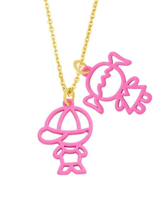 Pink Brass Enamel Cute Angel  Pendant Necklace