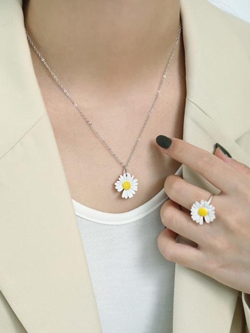 AI Fei Er 925 Sterling Silver Enamel Flower Minimalist Necklace 2