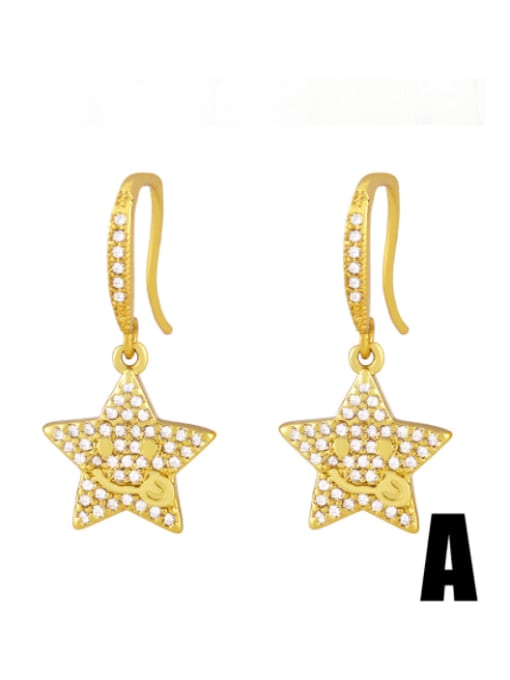 CC Brass Cubic Zirconia Star Hip Hop Hook Earring 0