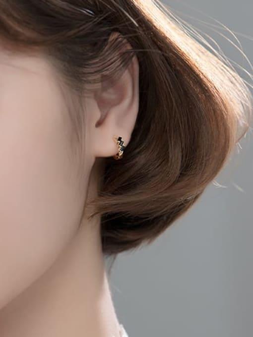 Rosh 925 Sterling Silver Cubic Zirconia Irregular Cute Huggie Earring 2
