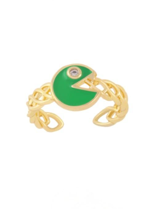 green Brass Enamel Geometric Vintage Band Ring