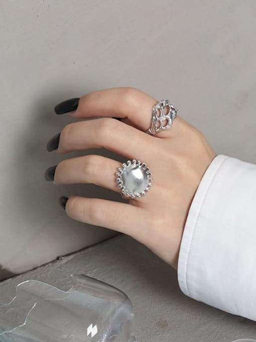 DAKA 925 Sterling Silver Round Vintage Band Ring 2