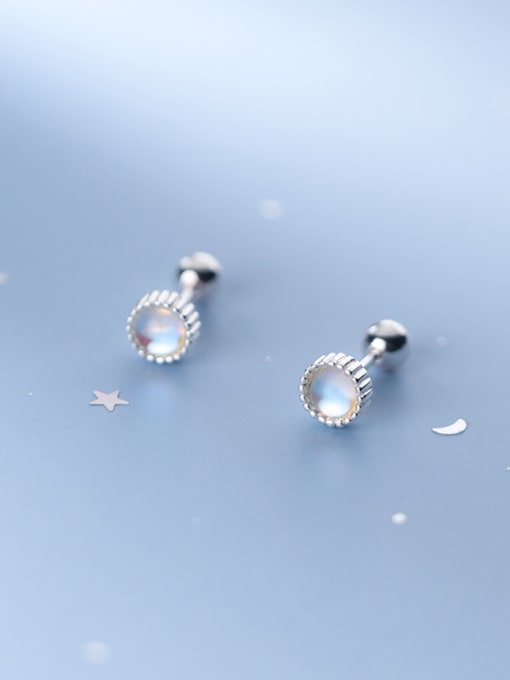 Rosh 925 Sterling Silver Opal Round Minimalist Stud Earring 0