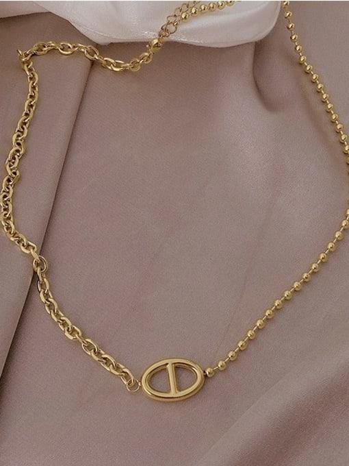 A TEEM Titanium Steel  Hollow Geometric Vintage Pendant Necklace 1