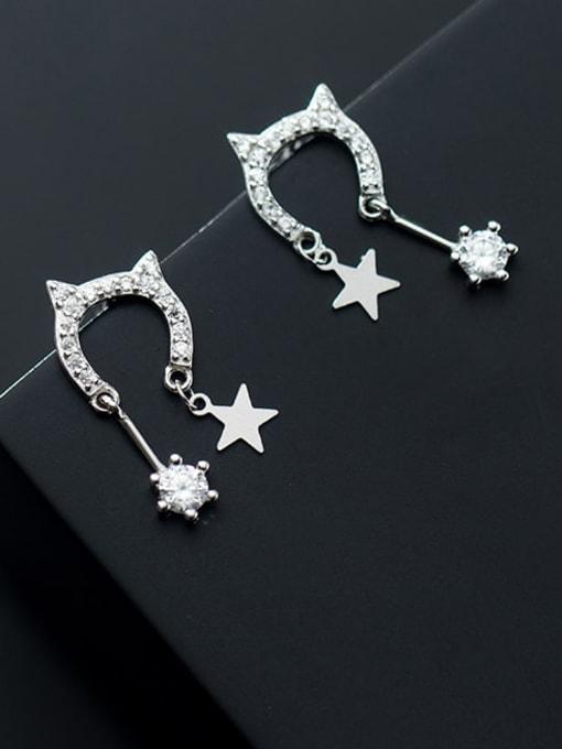 Rosh 925 Sterling Silver Cubic Zirconia Cat Minimalist Drop Earring 0