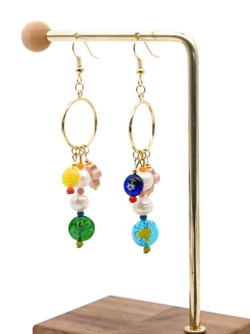 ZZ E200056F Stainless steel Freshwater Pearl Multi Color Glass beads Ethnic Long   Hook Earring