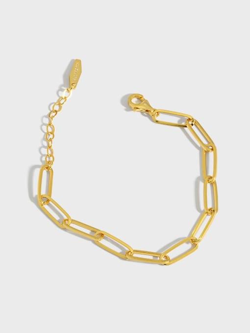 DAKA 925 Sterling Silver Hollow Geometric Chain Vintage Link Bracelet