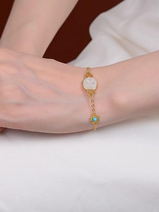 DEER 925 Sterling Silver Jade Geometric Minimalist Link Bracelet 3