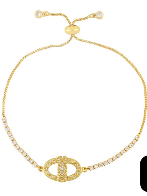 C Brass Cubic Zirconia Butterfly Hip Hop Adjustable Bracelet