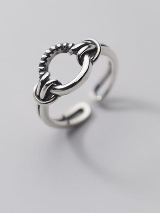 Rosh 925 Sterling Silver Hollow Round Hip Hop Band Ring
