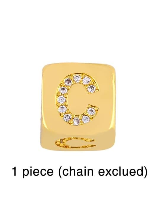 C Brass Cubic Zirconia square Letter Minimalist Adjustable Bracelet