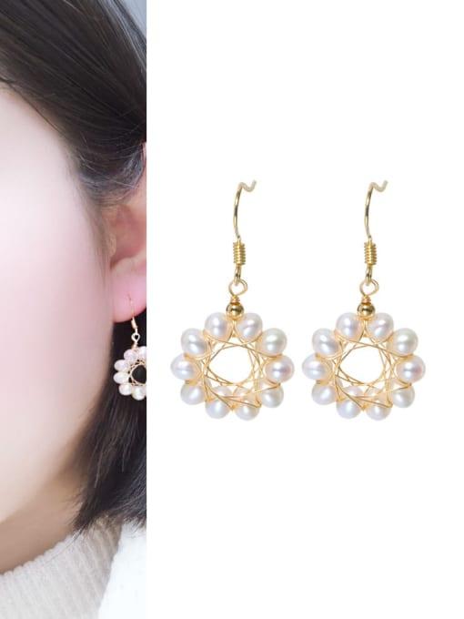 RAIN Brass Freshwater Pearl Geometric Minimalist Hook Earring 1
