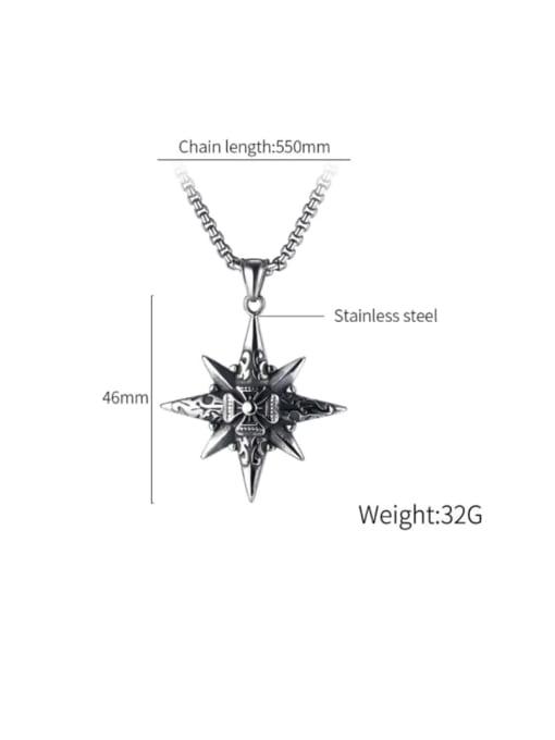 Open Sky Titanium Steel Star Hip Hop Regligious Necklace 3