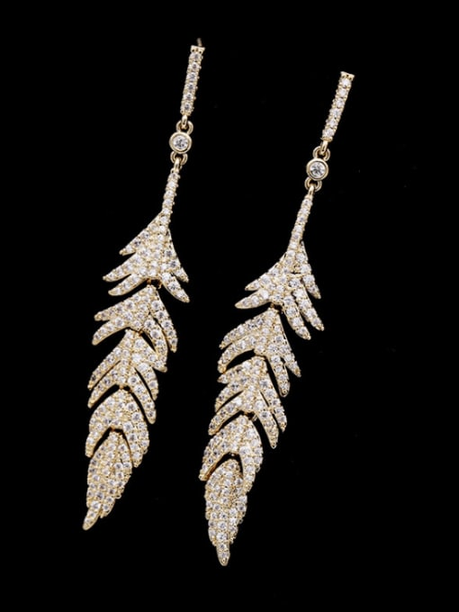 golden Brass Cubic Zirconia Leaf Vintage Drop Earring