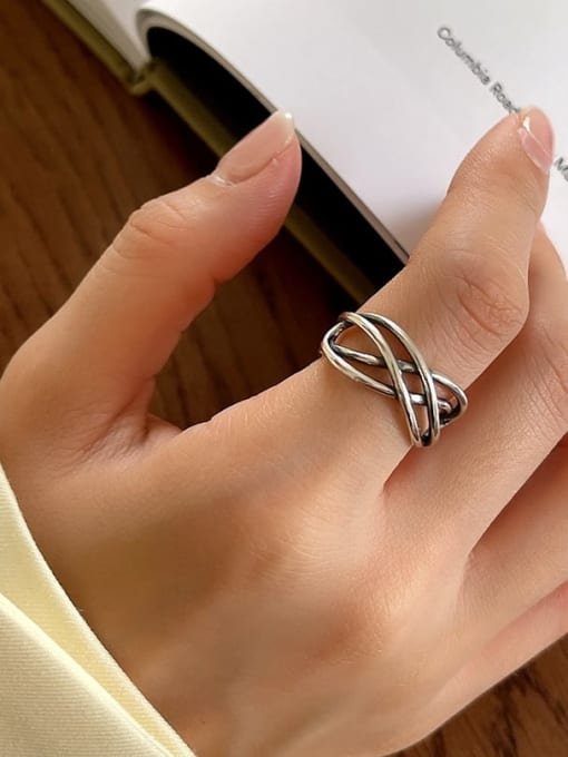 Tandem ring j119 3.5g 925 Sterling Silver Geometric Vintage Stackable Ring