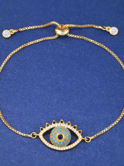 CC Brass Cubic Zirconia Evil Eye Minimalist Adjustable Bracelet