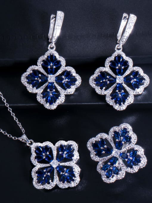Royal Blue Ring Size 9 Brass Cubic Zirconia Luxury Flower  Earring Ring and Necklace Set