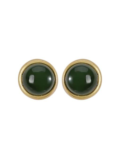 DEER 925 Sterling Silver Jade Round Vintage Stud Earring 3