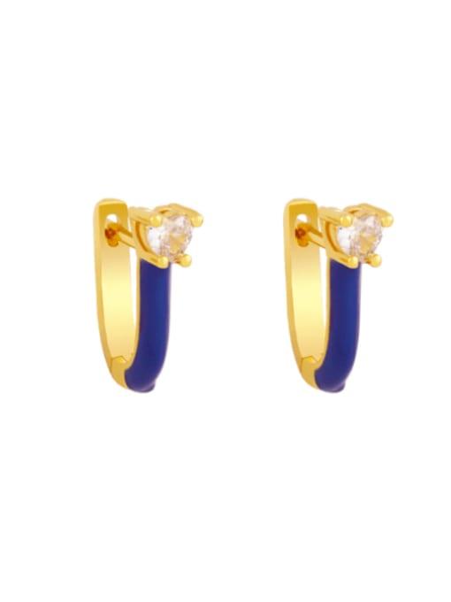 Dark blue Brass Multi Color Enamel Heart Vintage Huggie Earring