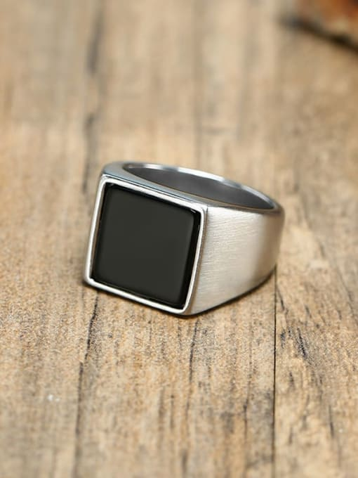 CONG Stainless steel Acrylic Geometric Vintage Band Ring 1