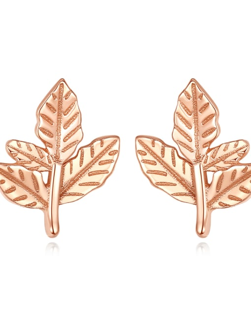 CCUI 925 Sterling Silver Leaf Minimalist Stud Earring 0