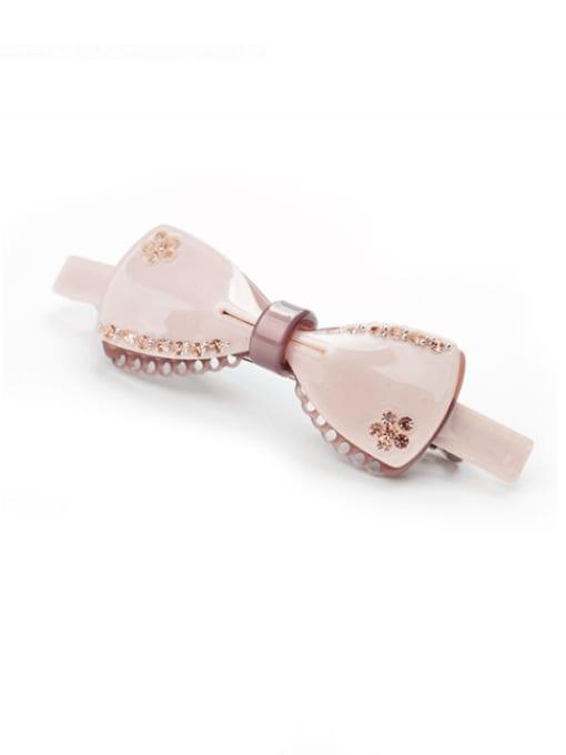 pink Cellulose Acetate Cute Bowknot Zinc Alloy  Spring clip Hair Barrette