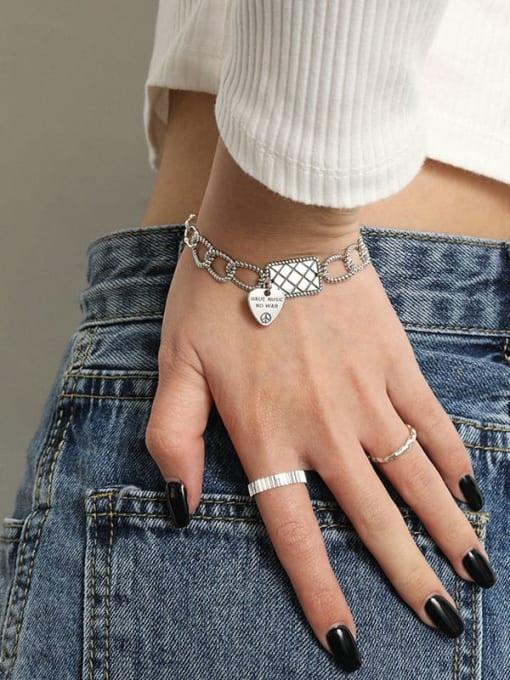 DAKA 925 Sterling Silver Geometric Vintage Love square brand chain  Link Bracelet 2