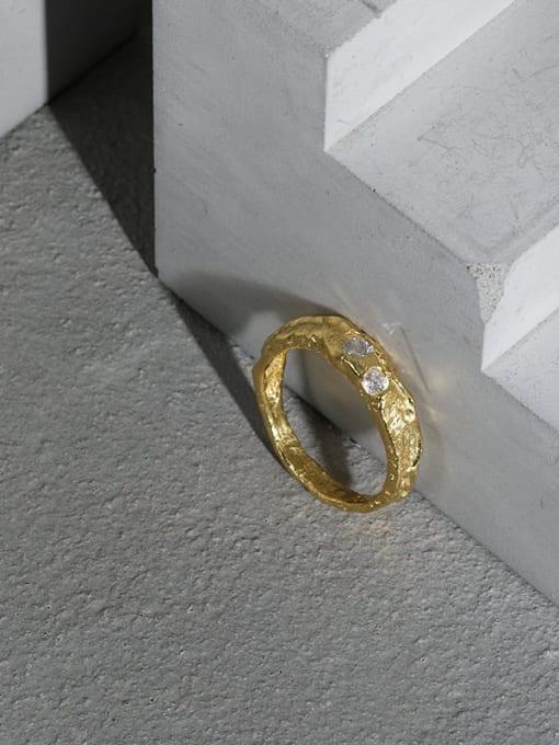DAKA 925 Sterling Silver Rhinestone Irregular Minimalist Band Ring 1