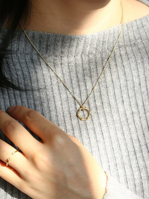 CHARME Brass  Hollow Geometric Vintage Pendant Necklace 3