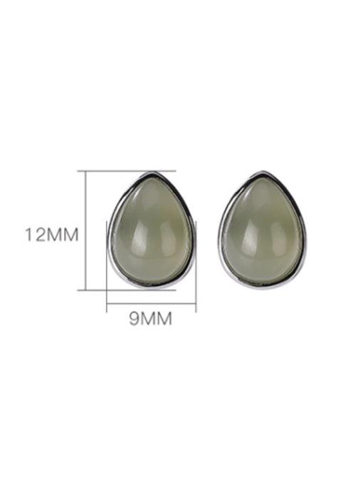 DEER 925 Sterling Silver Jade Water Drop Vintage Stud Earring 2
