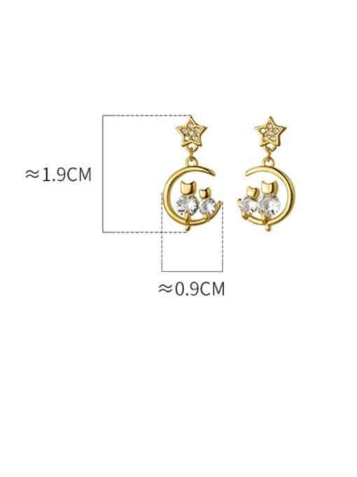 Rosh 925 Sterling Silver Cubic Zirconia Moon Dainty Drop Earring 4