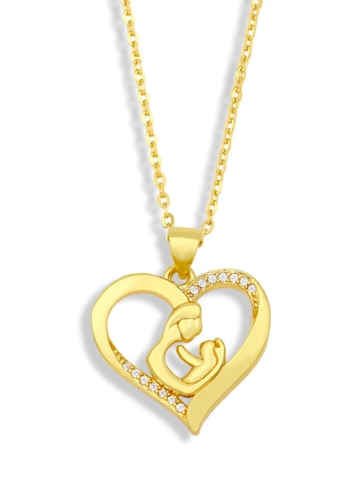 CC Brass Cubic Zirconia Mom Heart Minimalist Necklace 2