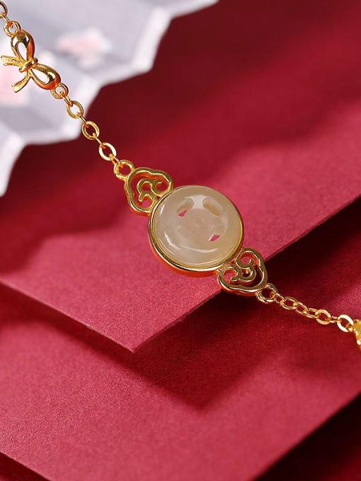 DEER 925 Sterling Silver Jade Geometric Minimalist Link Bracelet 2