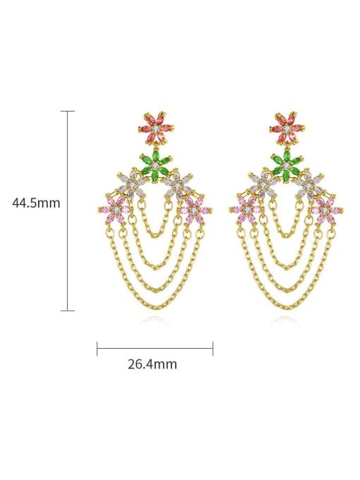 BLING SU Brass Cubic Zirconia Tassel Luxury Earring 3
