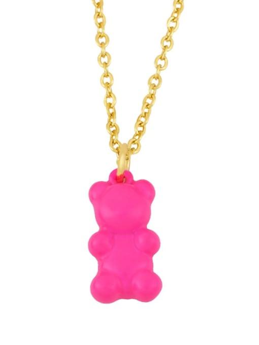 Rose red Brass Enamel Cute Bear Pendant Necklace