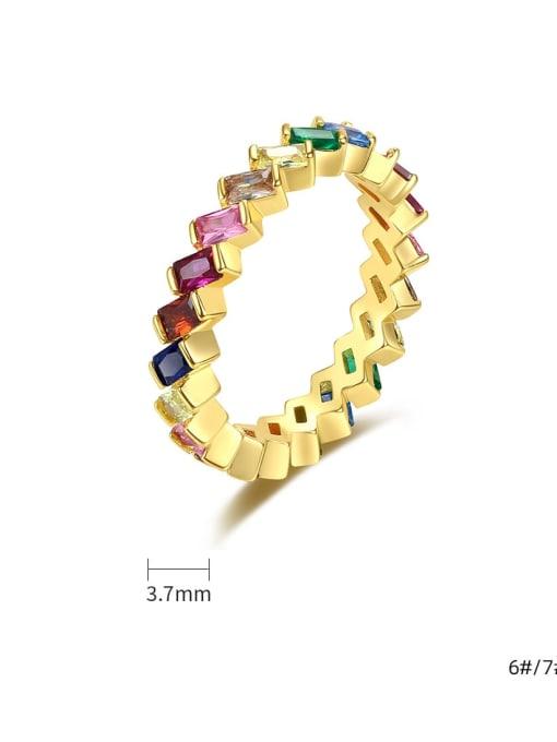 BLING SU Brass Cubic Zirconia Geometric Minimalist Band Ring 4